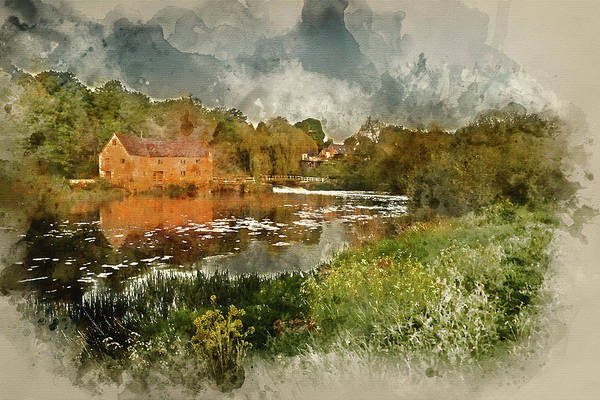 Sturminster Newton Photograph - Watercolour Painting Of Early Morning Landscape Across River To  by Matthew Gibson