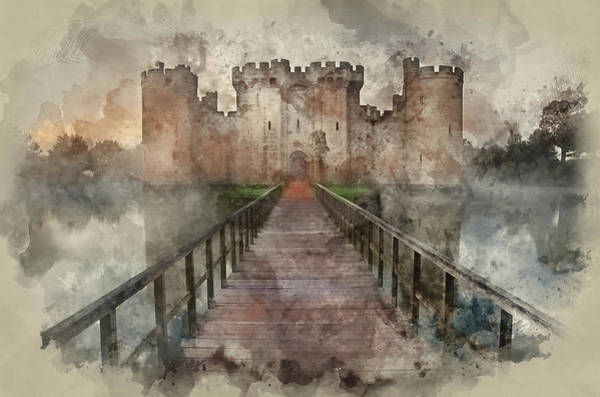 Bodiam Photograph - Watercolour Painting Of Medieval Castle And Moat In Morning Ligh by Matthew Gibson