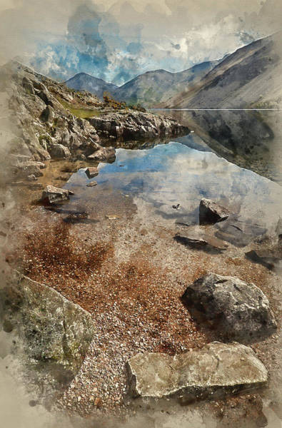 Wast Wall Art - Photograph - Watercolour Painting Of Stunning Landscape Of Wast Water And Lake District Peaks On Summer Day Refle by Matthew Gibson