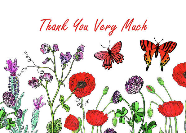 Wall Art - Painting - Watercolour Wildflowers Thank You Card Design by Irina Sztukowski
