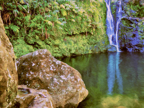 Painting - Waterfall And Pool Near Hana Maui by Dominic Piperata