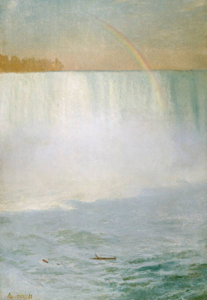 Water Wall Art - Painting - Waterfall And Rainbow At Niagara Falls by Albert Bierstadt