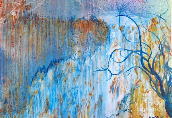 Painting - Waterfall And Tree by Walt Brodis