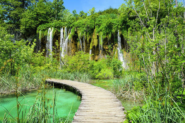 Photograph - Waterfall And Wooden Path In Plitvice National Park In Croatia by Brandon Bourdages