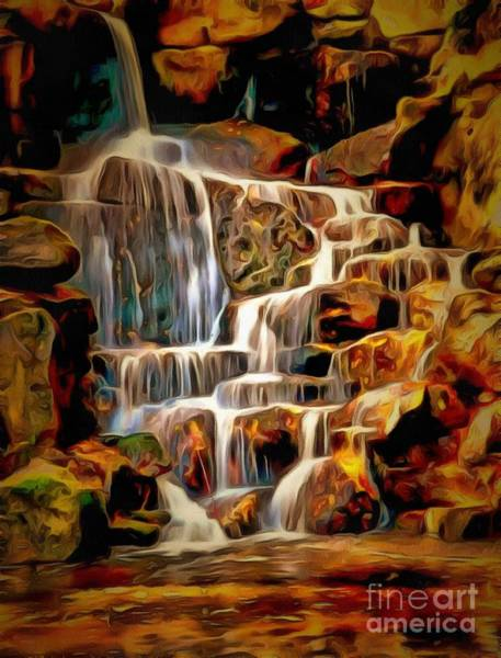 Painting - Waterfall Cascades In Ambiance by Catherine Lott