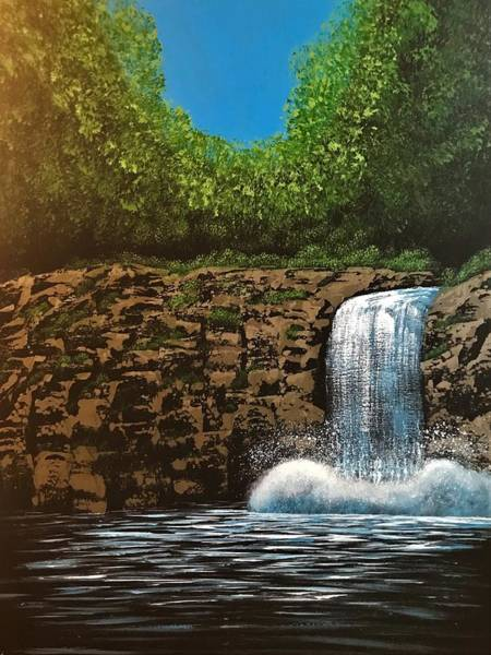 Wall Art - Painting - Waterfall Down In The Forest by Willy Proctor