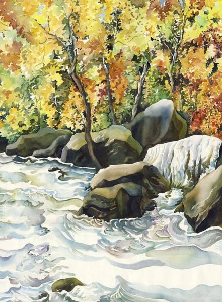 Painting - Waterfall In Autumn by Alfred Ng