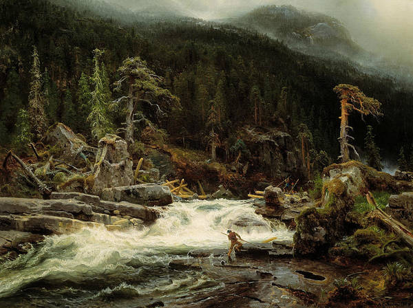 Norwegian Painting - Waterfall In Telemark by August Cappelen