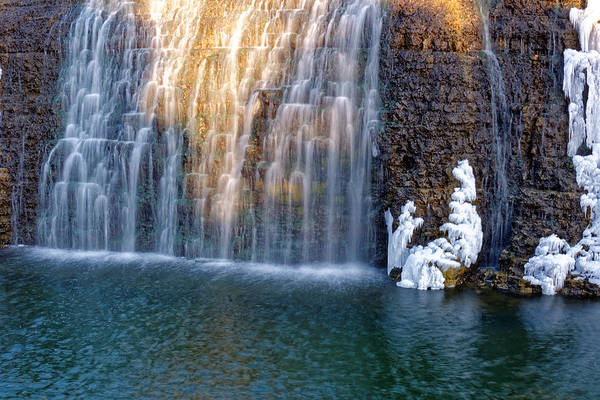 Waterfall In Winter Art Print