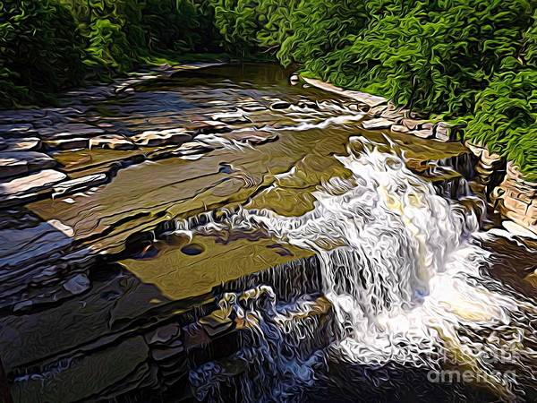 Photograph - Waterfall On The Deer River In Upstate Ny Abstract Expressionistic Effect by Rose Santuci-Sofranko