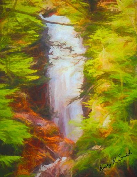 Digital Art - Waterfall Sages Ravine, Connecticut. by Rusty R Smith