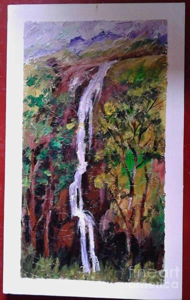 Wall Art - Painting - Waterfall by Sudumenike Wijesooriya