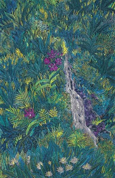 Oahu Drawing - Waterfall Tapestry by Cynthia Conklin