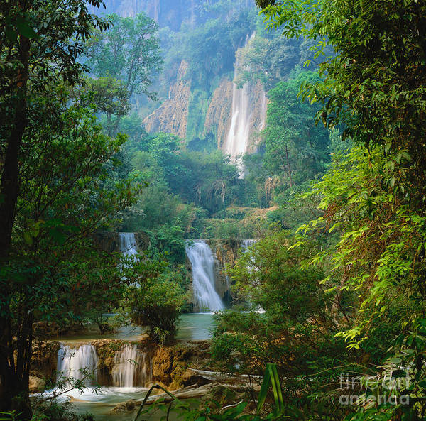 Photograph - Waterfall, Thailand by Gerald Cubitt