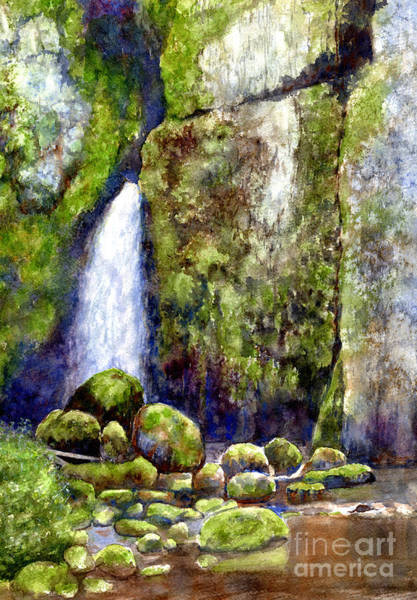 Mossy Wall Art - Painting - Waterfall With Mossy Rocks by Sharon Freeman