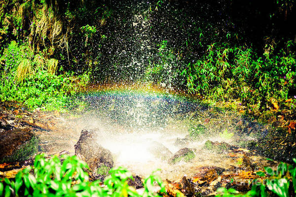 Photograph - Waterfall With Rainbow In Himalaya Mountains, Nepal by Raimond Klavins