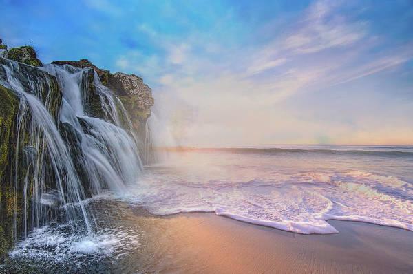 Waterfalls Into The Ocean Art Print