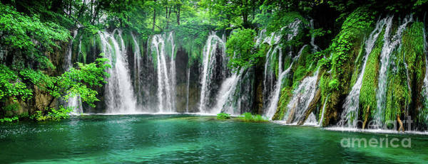 Photograph -  Waterfalls Panorama - Plitvice Lakes National Park Croatia by Global Light Photography - Nicole Leffer