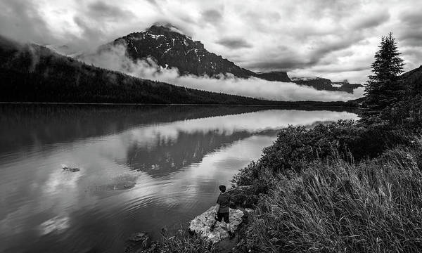 Photograph - Waterfowl Lake Banff Alberta Canada Bw by Joan Carroll