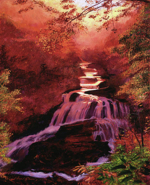 Painting - Waterfall Sunrise by David Lloyd Glover