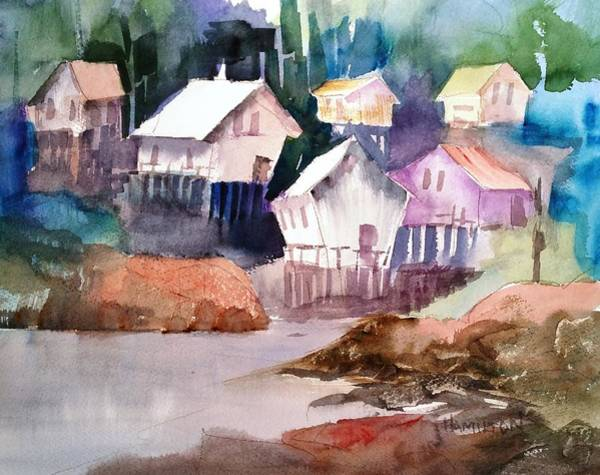 Painting - Waterfront Cabins by Larry Hamilton