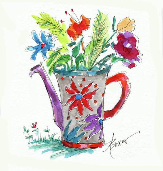 Painting - Watering Can What? by Adele Bower