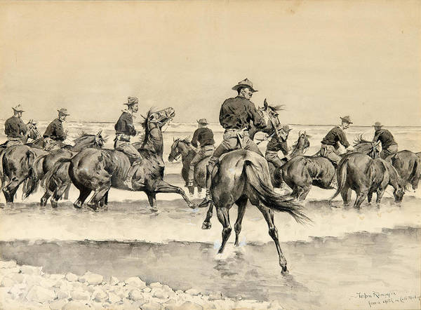 Watering The Texas Horses Of The Third Cavalry In Lake Michigan Art Print