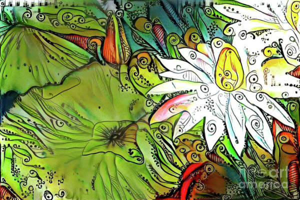 Lilly Pad Digital Art - Waterlilies 12 by Amy Cicconi