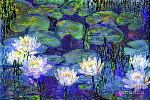 Lilly Pad Digital Art - Waterlilies 4 by Amy Cicconi