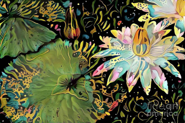 Lilly Pad Digital Art - Waterlilies 5 by Amy Cicconi
