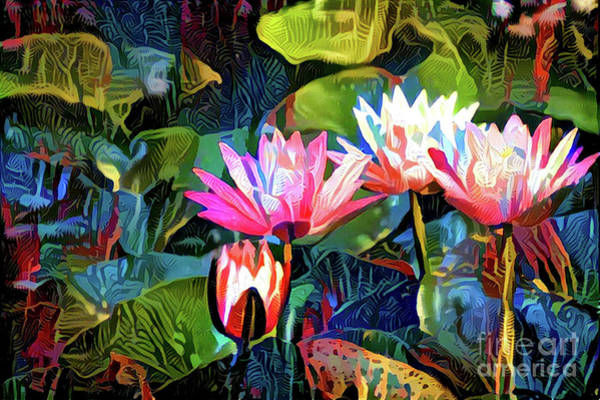 Lilly Pad Digital Art - Waterlilies 8 by Amy Cicconi