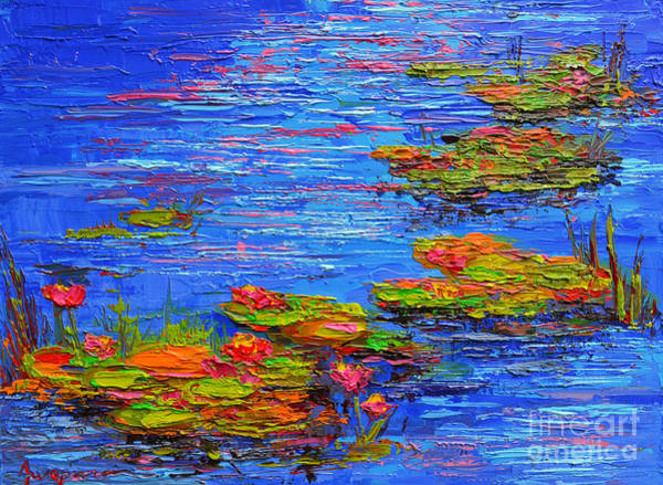 Painting - Waterlily Pond - Lily Pads In A Morning Light - Modern Impressionist Knife Palette Oil Painting by Patricia Awapara