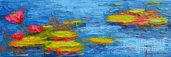 Painting - Waterlilies Pond Panoramic View Of Lily Pads -modern Impressionist Knife Palette Oil Painting by Patricia Awapara