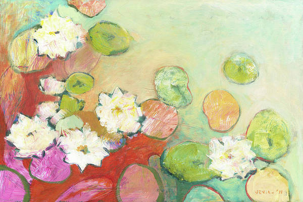 Pond Wall Art - Painting - Waterlillies At Dusk No 2 by Jennifer Lommers