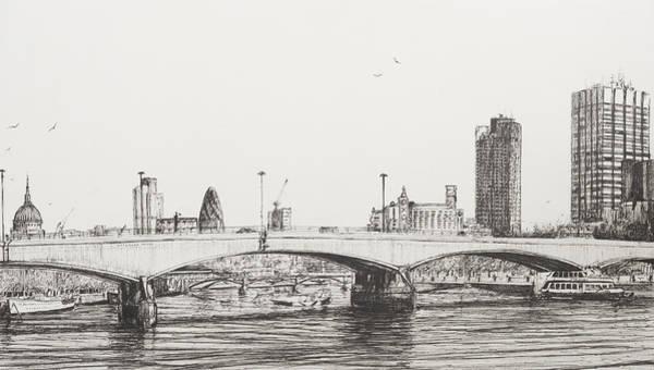 Great Britain Drawing - Waterloo Bridge by Vincent Alexander Booth