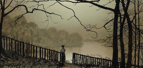 Gloomy Painting - Waterloo Lake Roundhay Park Leeds by John Atkinson Grimshaw