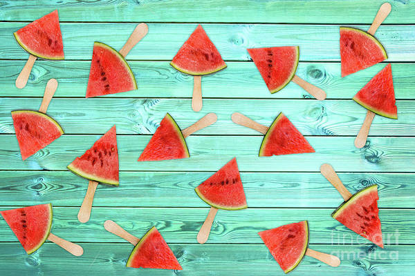 Wall Art - Photograph - Watermelon Popsicles On Blue by Delphimages Photo Creations