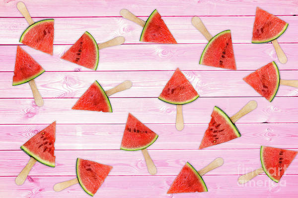 Wall Art - Photograph - Watermelon Popsicles On Pink by Delphimages Photo Creations