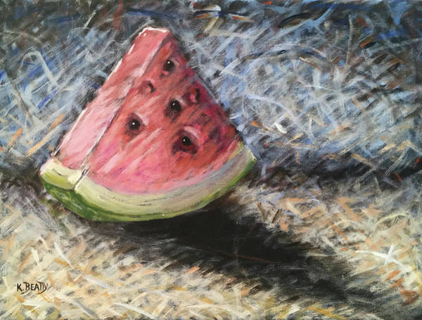 Scumble Wall Art - Painting - Watermelon Slice by Karla Beatty