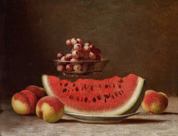 Apple Peel Wall Art - Painting - Watermelon Still Life by Barton Stone Hays