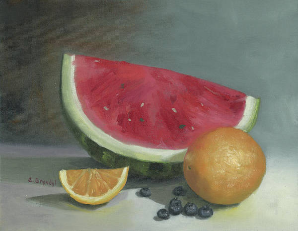 Wall Art - Painting - Watermelon Still Life by Cecilia Brendel