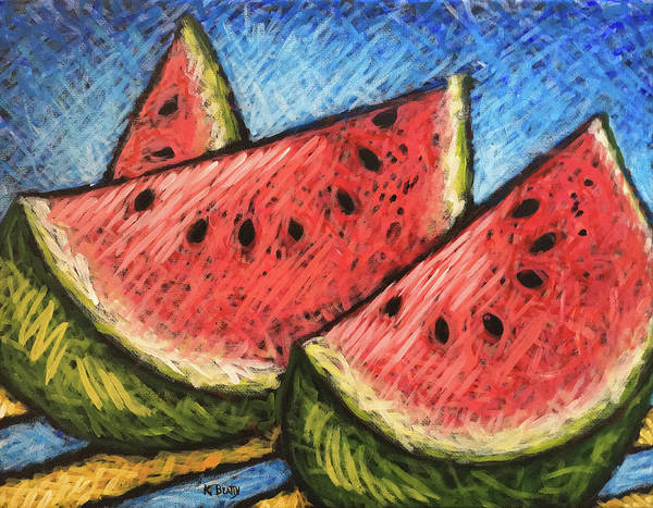 Scumble Wall Art - Painting - Watermelon Summer by Karla Beatty