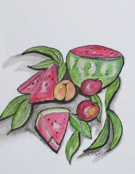 Painting - Watermelons And Apples by Clyde J Kell