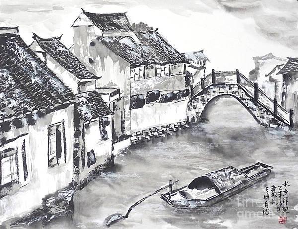 China Town Painting - Watertown In China by Birgit Moldenhauer