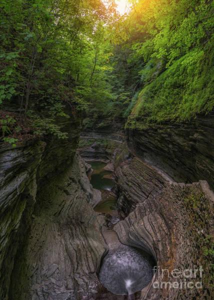 Watkins Glen Photograph - Watkins Glen Rainbow Falls  by Michael Ver Sprill