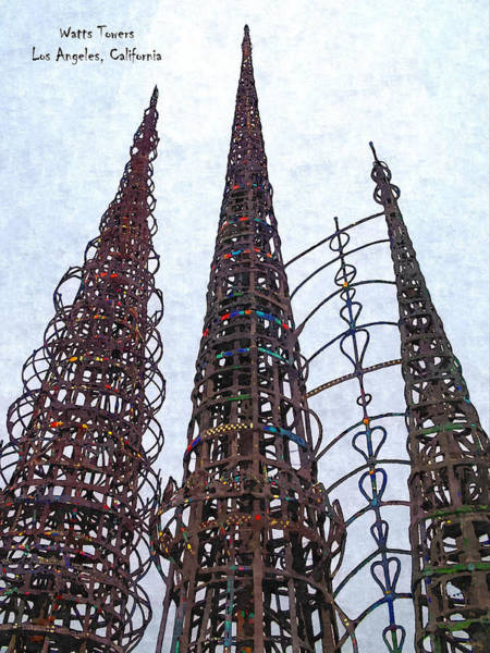 Railroad Tie Wall Art - Photograph - Watts Towers 2 - Los Angeles by Glenn McCarthy Art and Photography