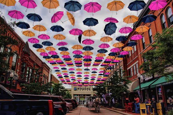 Photograph - Wausau's 300 Block Umbrellas by Dale Kauzlaric