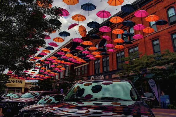 Photograph - Wausau's Downtown Umbrellas by Dale Kauzlaric
