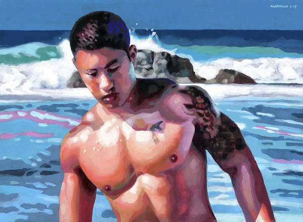 Bodybuilder Painting - Wave Coming by Douglas Simonson
