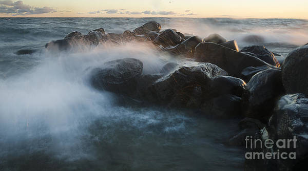 Photograph - Wave Crashed Rocks 7947 by Steve Somerville